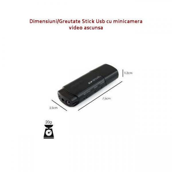 Camera video cu filmare pe timp de noapte ascunsa in stick USB de memorie