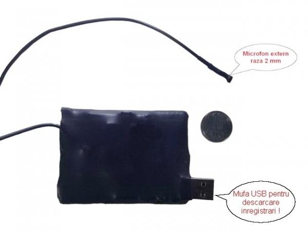 Mini dispozitiv spy reportofon  - 2mm - 278 de ore, 10 zile