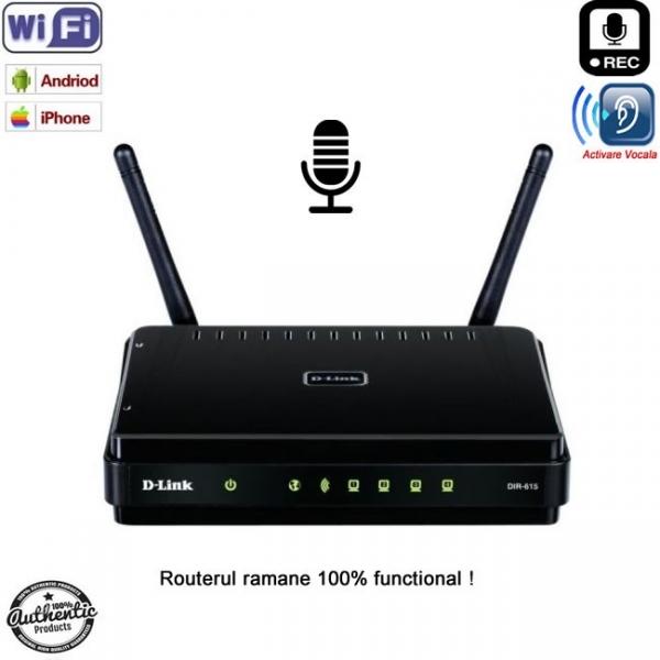 Router cu microfon reportofon spion hibrid profesional cu activare vocala + Wi-Fi + ascultare live pe internet