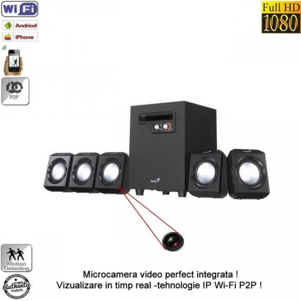 Microcamera video de supraveghere spy IP wireless P2P mascata in boxa ,32 Gb, 1080p, senzor miscare, BACSIP2P861