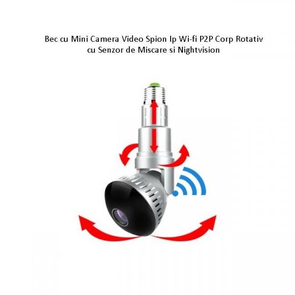 Camera Video Ip Wi-fi DVR pentru Spionaj Discret Camuflata in Bec Corp Rotativ Extensibil