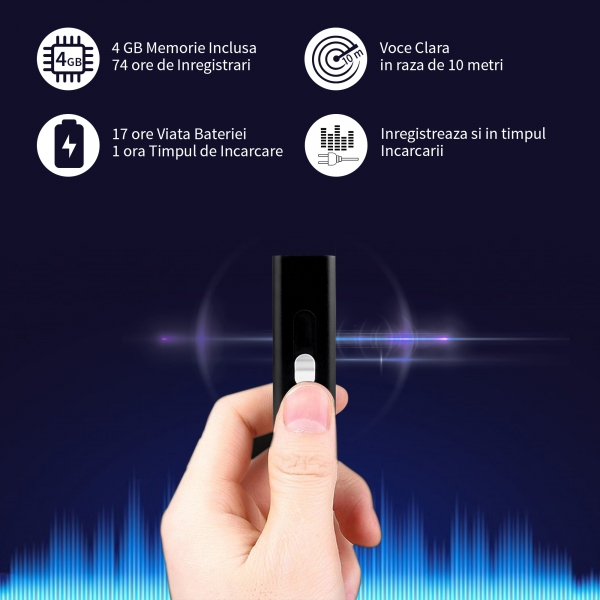 Reportofon spion cu activare vocala automata si baterie 17 ore