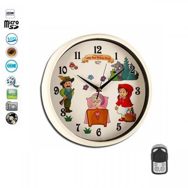 Ceas de perete camera spion pentru camera copiilor, senzor de miscare, telecomanda, card microSD 32Gb