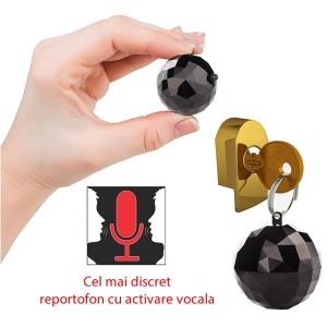 Reportofon Spy Mascat in Breloc de Chei | Memorie 4GB | Functie de Activare Vocala | 32 Ore Autonomie Baterie | 2 moduri de inregistrare: continuu sau la detectie de sunet