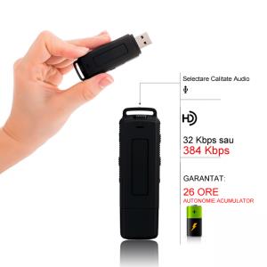 Stick USB de Memorie Spion cu Inregistrare 384kbps, Functie de Activare Vocala, Memorie Interna 8Gb - 564 de ore - Model Profesional