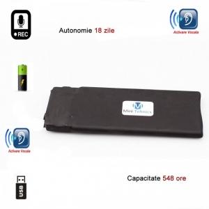 Reportofon Spion Profesional cu Autonomie 18 Zile - Memorie 8GB- Stocare 554 de Ore, Sunet UltraClear si Casti Incluse