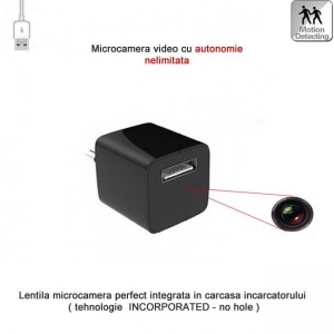 Incarcator USB Telefon cu Modul Camera Video Spy, Detector de Miscare si Alimentare Permanenta