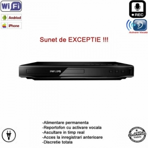 Dvd (Blue-Ray)  Player cu Microfon Spion Profesional, Wi-Fi + Ascultare Live pe Internet