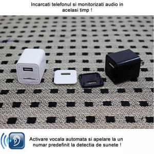 Incarcator USB de telefon cu microfon GSM spion integrat – functie de activare vocala