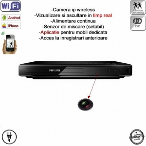 MinicameraVideo Spion IP Wireless + DVR, P2P, Wi-Fi Ascunsa in DVD Player