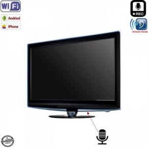 Televizor cu reportofon spion profesional cu activare vocala + Wi-Fi + ascultare live pe internet