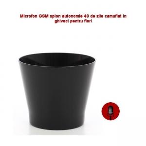 Microfon Gsm Integrat in Ghiveci de Flori Negru, Functie de Activare Vocala,  2 Microfoane Incorporate