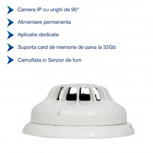 Camera Video Spion Integrata in Detector de Fum cu Wi-Fi Ip, HD, Senzor de Miscare Incorporat, 32GB - DFCSWIIP121