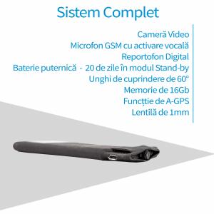 Microfon Spion Hibrid Profesional cu Camera Spion + AGPS+ Reportofon 5600H + Microfon Gsm cu Activare Vocala
