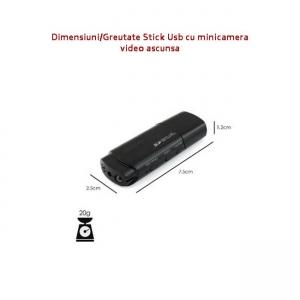 Camera Video cu Night Vision Ascunsa in Stick USB de Memorie, Rezolutie Video: 1920x1080P, Suporta Card Micro-SD 32GB, Autonomie 120 Minute