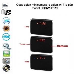 Ceas de birou cu camera video wi-fi ip p2p tip oglinda spion, detector de miscare, 1920x1080p