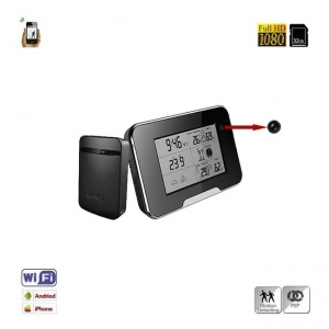 Statie meteo cu minicamera video pentru spionaj IP wi-fi, p2p, full HD, detector de miscare, card microSD 32Gb