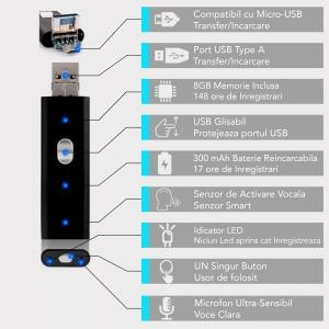 Reportofon Spion Mascat in Stick USB de Memorie - Activare Vocala - Stocare 147 de Ore - Memorie 8GB