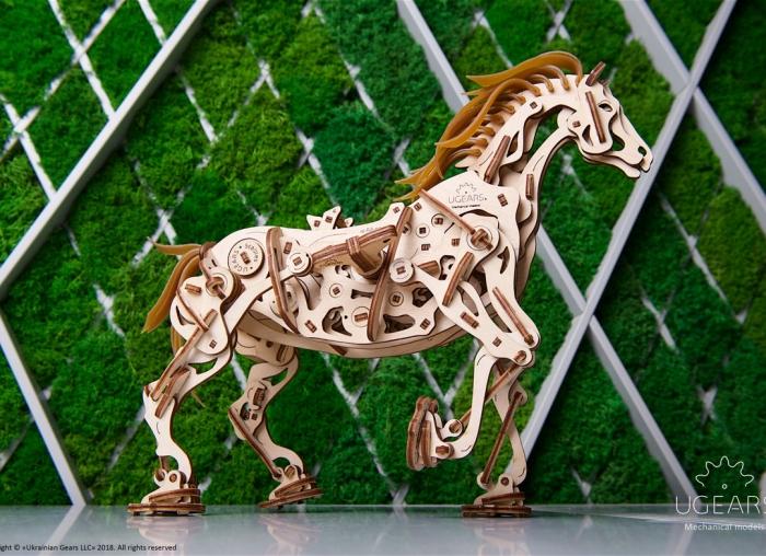 Puzzle 3D Cal Bionic din lemn Ugears 11