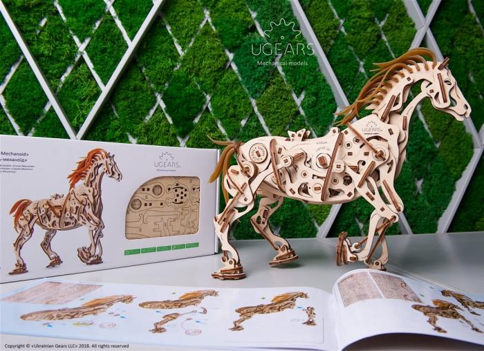 Puzzle 3D Cal Bionic din lemn Ugears 9