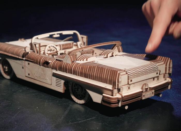 Puzzle 3D Dream Cabriolet VM-05 din lemn Ugears 11