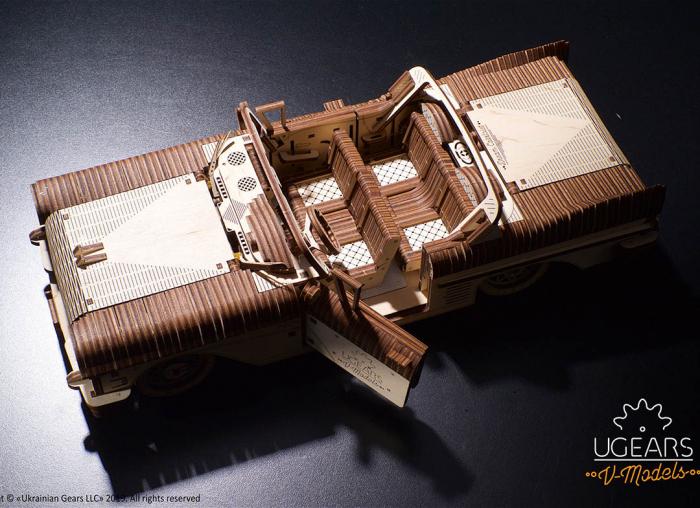 Puzzle 3D Dream Cabriolet VM-05 din lemn Ugears 5