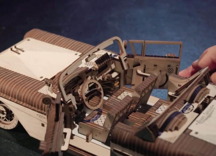 Puzzle 3D Dream Cabriolet VM-05 din lemn Ugears 6