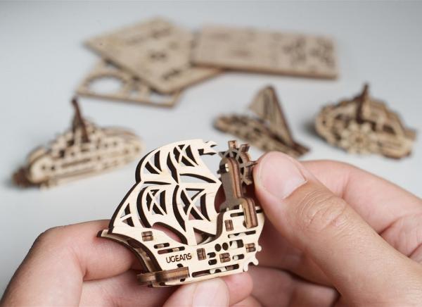 Puzzle 3D Fidget Nave Maritime din Lemn Ugears 2