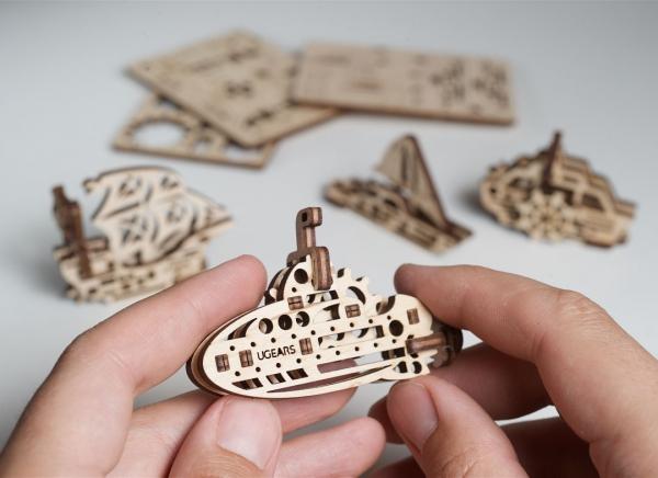 Puzzle 3D Fidget Nave Maritime din Lemn Ugears 3