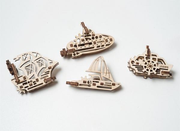 Puzzle 3D Fidget Nave Maritime din Lemn Ugears 5