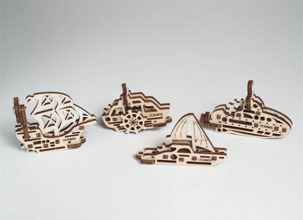 Puzzle 3D Fidget Nave Maritime din Lemn Ugears 6