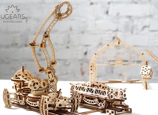Puzzle 3D Macara pe Sine din Lemn Ugears 15