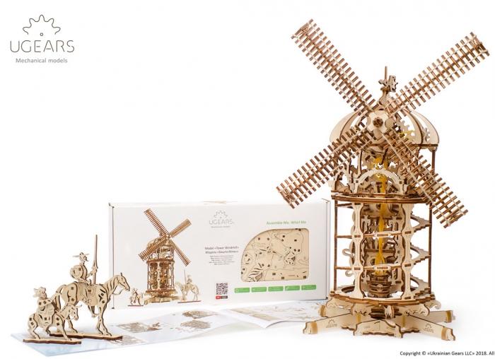 Puzzle 3D Moara de vant din lemn Ugears 0