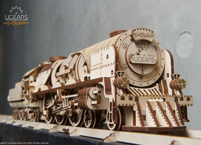 Puzzle 3D Tren V- Express cu abur din lemn Ugears 20