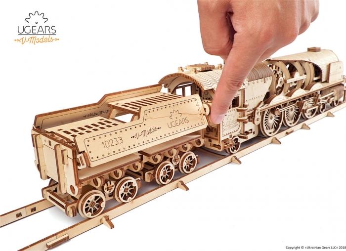 Puzzle 3D Tren V- Express cu abur din lemn Ugears 4