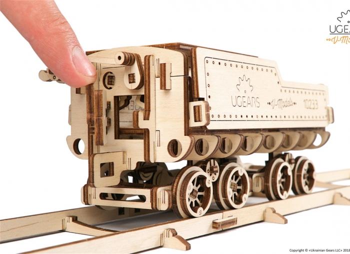 Puzzle 3D Tren V- Express cu abur din lemn Ugears 6