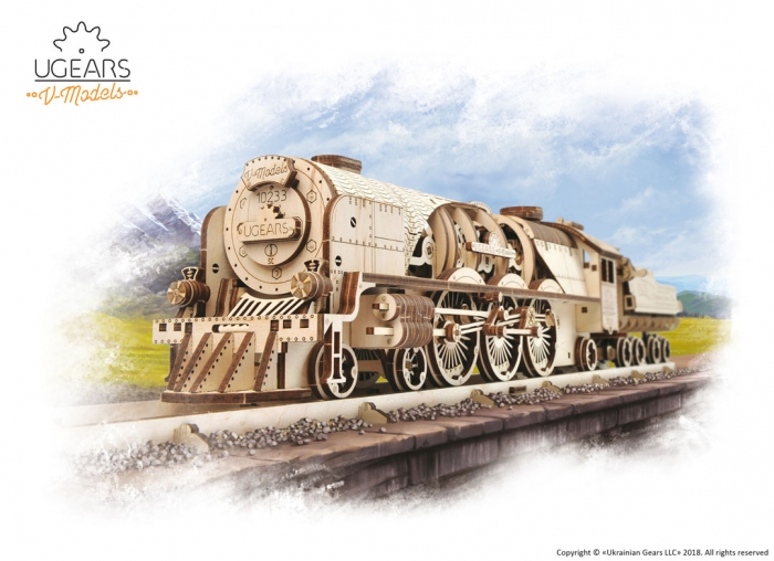 Puzzle 3D Tren V- Express cu abur din lemn Ugears 8