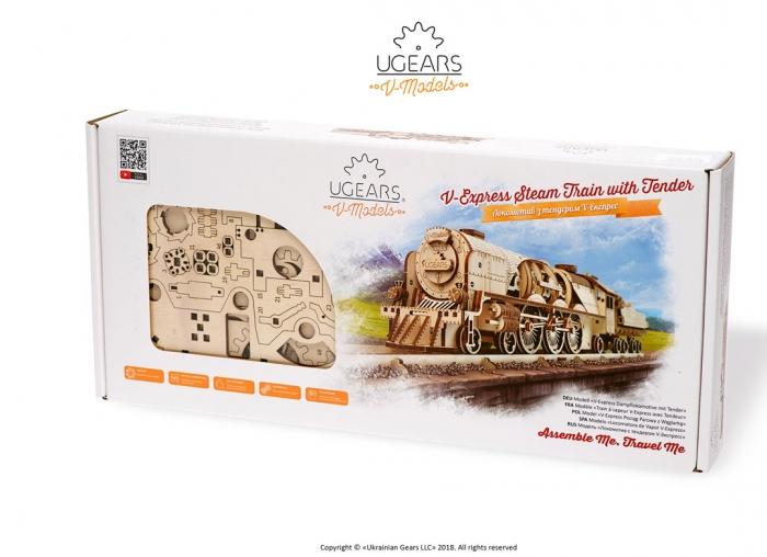 Puzzle 3D Tren V- Express cu abur din lemn Ugears 3