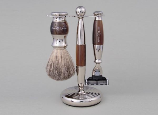 Set cadou barbati pentru barbierit 3 piese Light Horn Mach3, Edwin Jagger 0