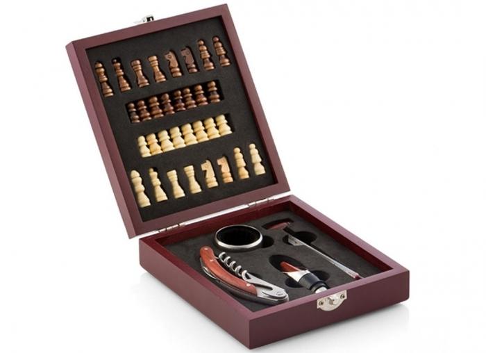 Caseta Deluxe de sah si accesorii pentru vin 5