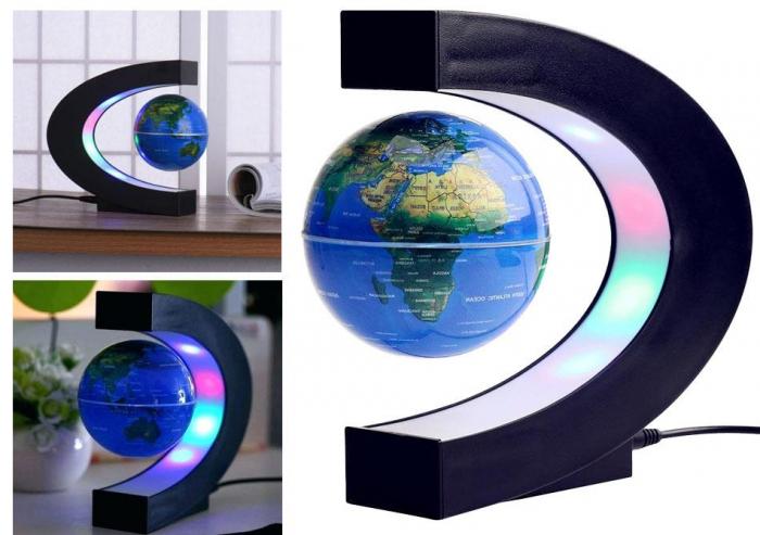 Glob magnetic plutitor cu iluminare LED. C-Shape 1