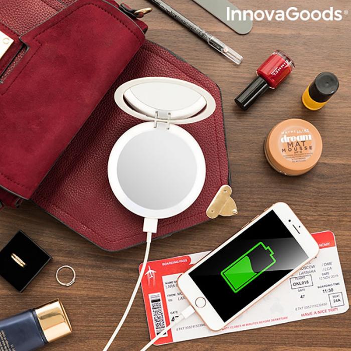 Oglinda MakeUp 3in 1 cu LED si incarcare smartphone 2