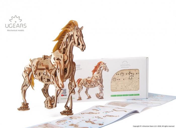 Puzzle 3D Cal Bionic din lemn Ugears 4