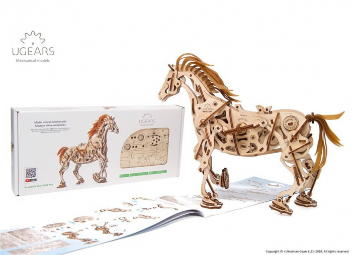 Puzzle 3D Cal Bionic din lemn Ugears 3