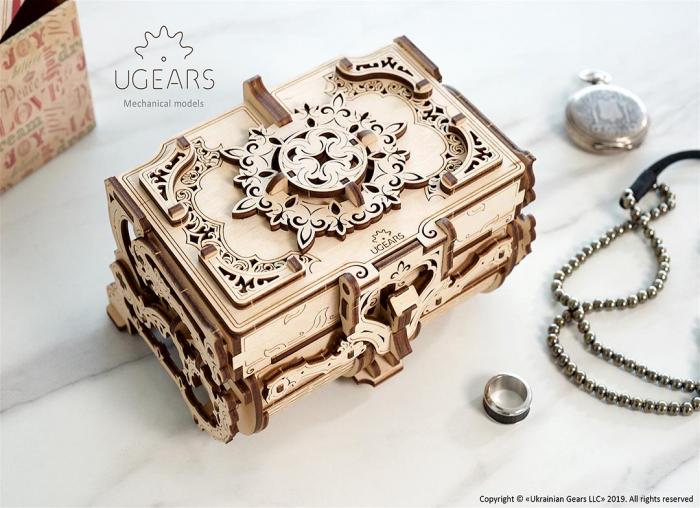 Puzzle 3D Cutie antica de bijuterii Ugears 7