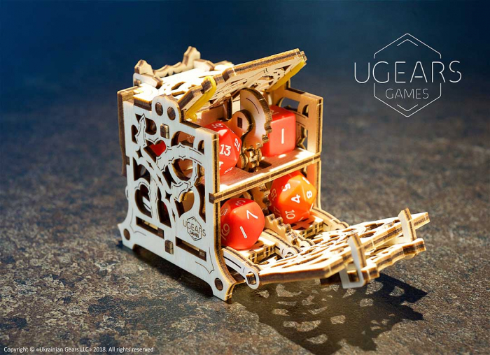 Puzzle 3D Cutie mecanica zaruri Ugears 0