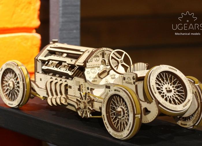 Puzzle 3D Masina Grand Prix U-9 din lemn Ugears 3