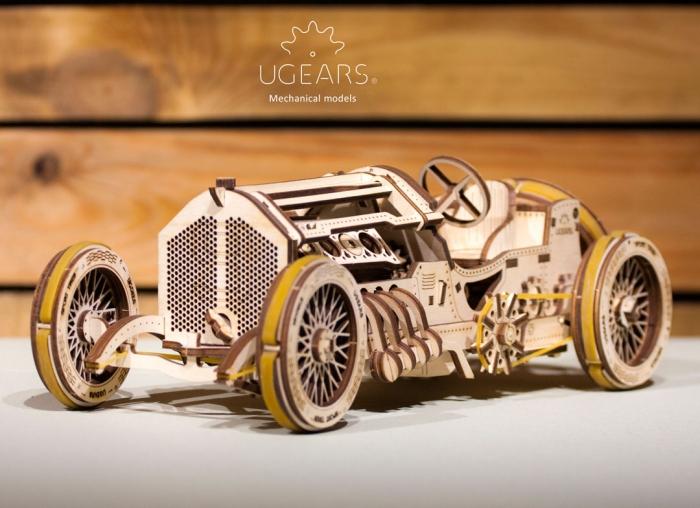 Puzzle 3D Masina Grand Prix U-9 din lemn Ugears 2