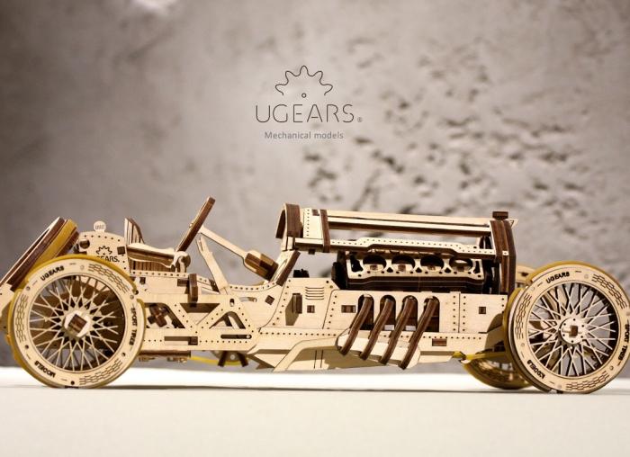 Puzzle 3D Masina Grand Prix U-9 din lemn Ugears 8