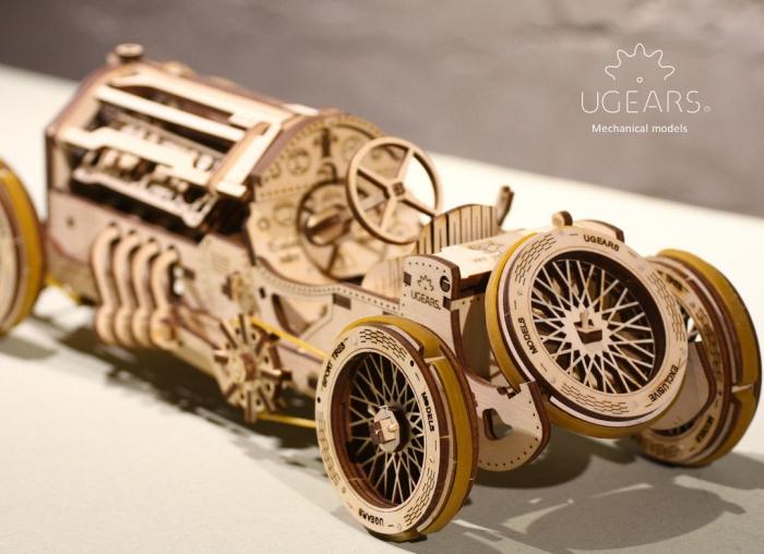 Puzzle 3D Masina Grand Prix U-9 din lemn Ugears 6